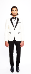 VANILLA FITTED 2-BUTTON SINGLE BREASTED WOOL TUXEDO JACKET W/ JET BLACK PRINTED SILK LAPEL