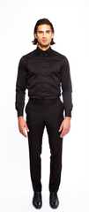 JET BLACK FITTED COTTON TUXEDO SHIRT
