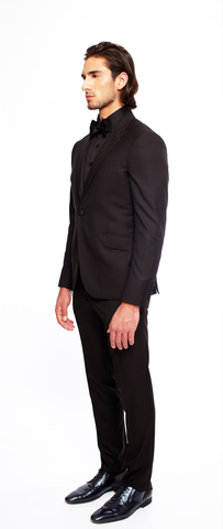 JET BLACK FITTED 2-BUTTON SINGLE BREASTED WOOL TUXEDO JACKET W/ JET BLACK PRINTED SILK LAPEL