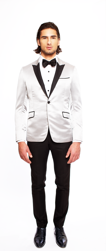 SILVER FITTED 2-BUTTON SINGLE BREASTED WOOL TUXEDO JACKET W/ JET BLACK PRINTED SILK LAPEL