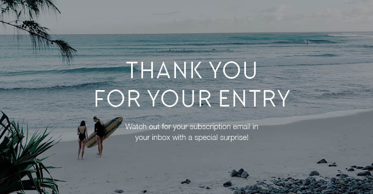Giveaway entry confirmed thank you message