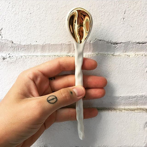 Ceramic Gold Spoon