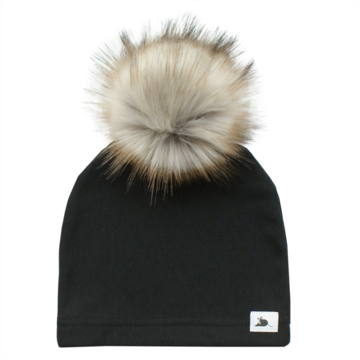 Adult Black Beanie with Pompom
