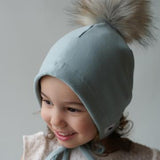 Aqua Bonnet with Pompom