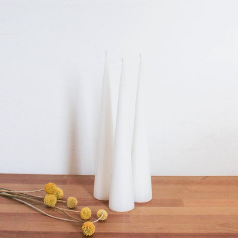Conical Candle - Floral White