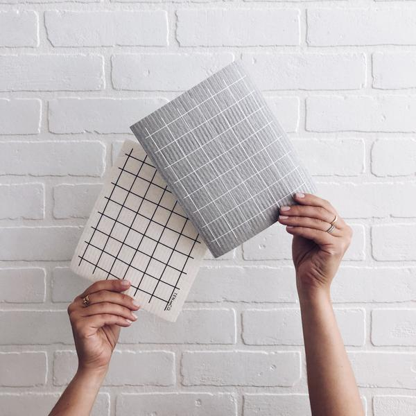Grid Black Sponge Cloth
