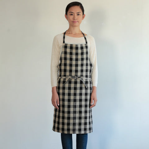 Linen Apron: Black Natural Check