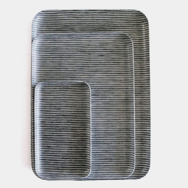 Linen Tray : Grey White Stripe
