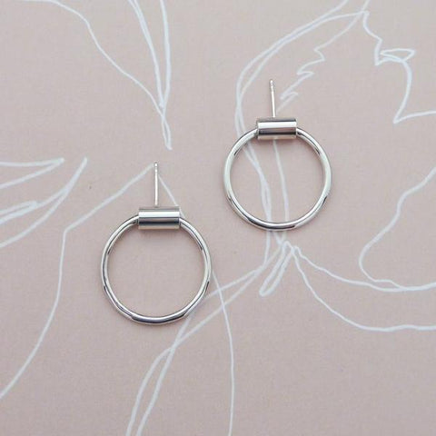 Silver Cylinder Hoops Earrings