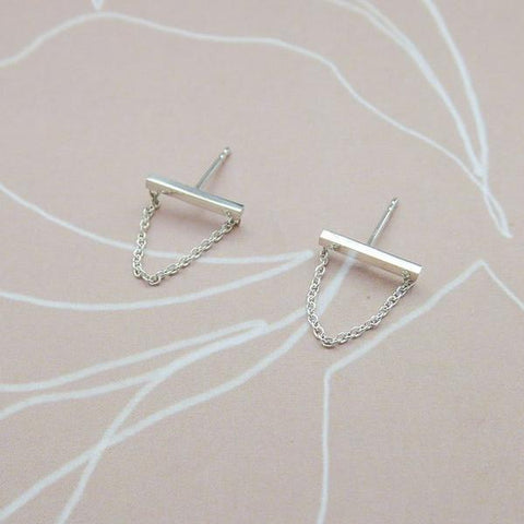 Silver Square Bar Earrings