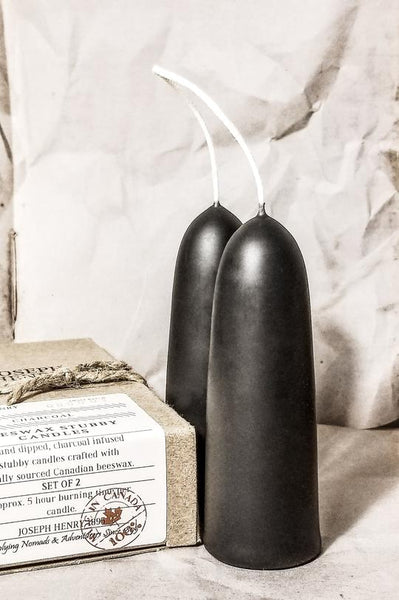 Beeswax Stubby Candles - Charcoal