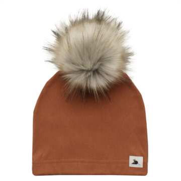 Rust Beanie with Pompom