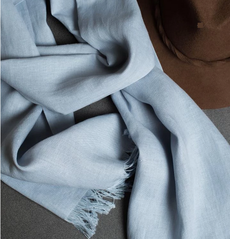 Linen Scarf Powder Blue