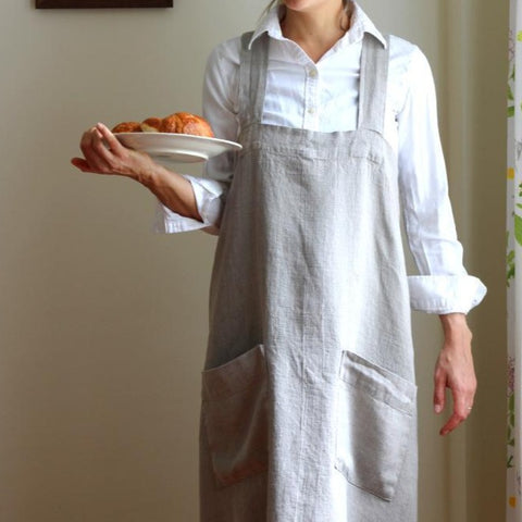 Linen Crossback Apron - Natural