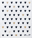 Gold Black Hearts Sponge Cloth