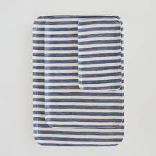 Linen Tray : White and Blue Stripes
