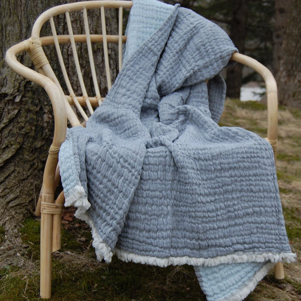 Shaded Blue Washed Linen Throw