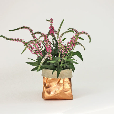 Metallic Rose Gold Washable Paper Bag