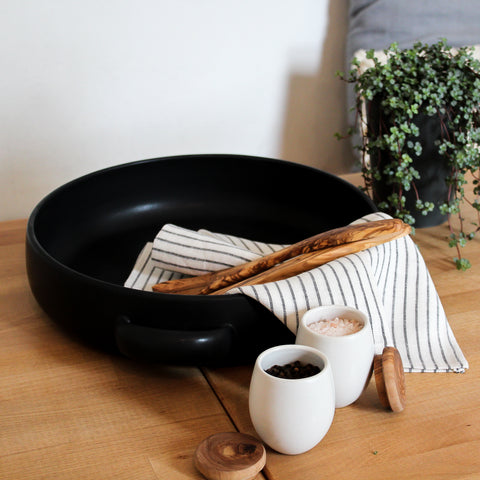 Large Plate with Handles - Black