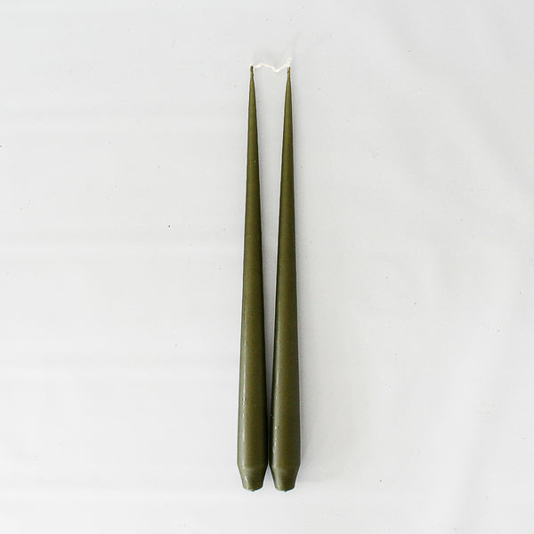 Olive Taper Candle Duo