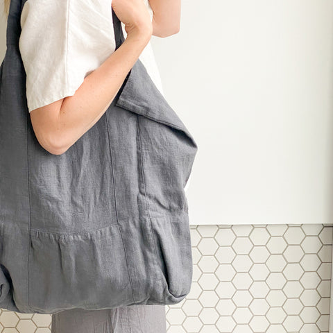 Linen Tote Bag - Grey