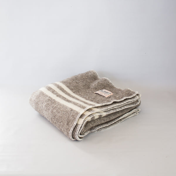 Wool Lap Throw Dark Grey Stripe