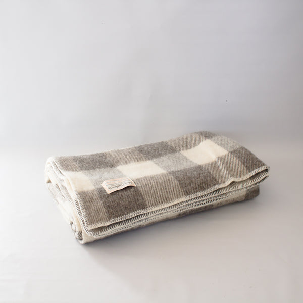 Wool Blanket Dark Grey Natural Check