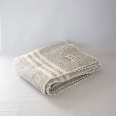 Wool Lap Throw Light Grey Stripe