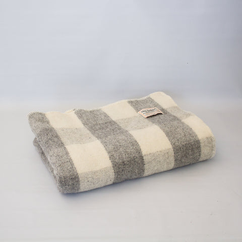Wool Blanket Light Grey Check