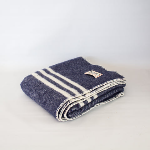 Wool Lap Throw Navy Tweed Stripe