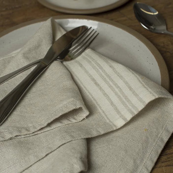 Linen Towel French Stripe Beige