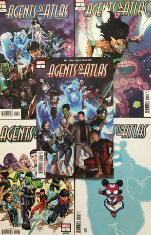 AGENTS OF ATLAS #1 - main cover and four variant covers! - signed by Greg Pak