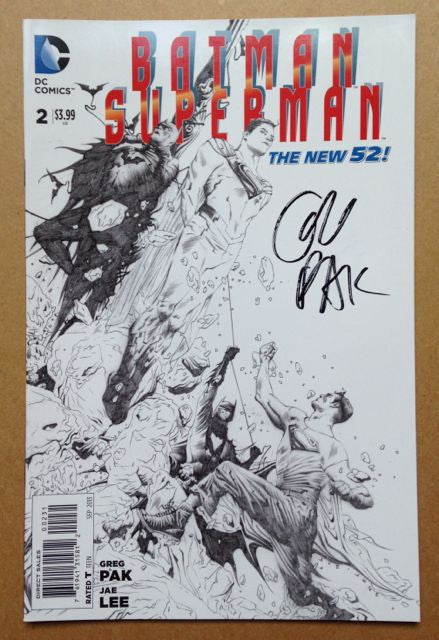 BATMAN/SUPERMAN #2 - pencil variant cover - signed by Greg Pak