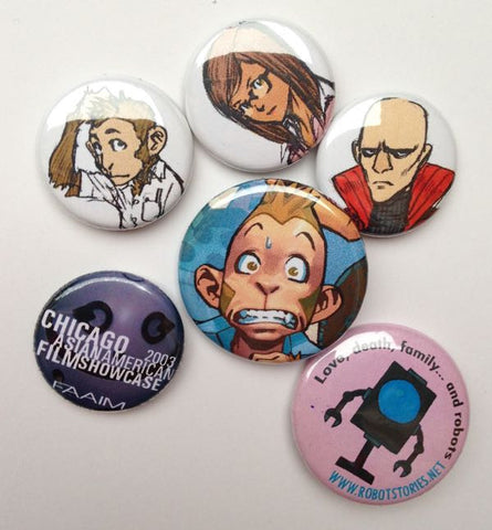 Button swag pack! Six rare Code Monkey Save World and Robot Stories buttons!