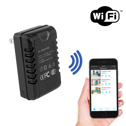 WiFi AC Adapter Hidden Camera Covert Wall Charger | Live Streaming