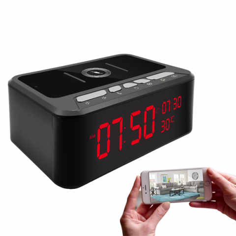 Wi-Fi Clock Camera with Night Vision and Wireless Charging Station