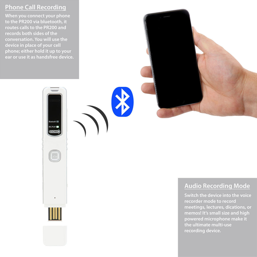 Bluetooth Cell Phone & Audio Call Recorder / Android & iPhone