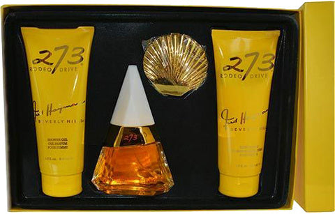 Fred Hayman 273 by Fred Hayman - Set Eau De Parfum Spray 2.5 oz Body Lotion 6.7 oz Shower Gel 6.7 oz Double Sided Shell Mirror