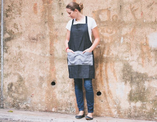 Denim Apron with Striped Pocket - chopcookdine