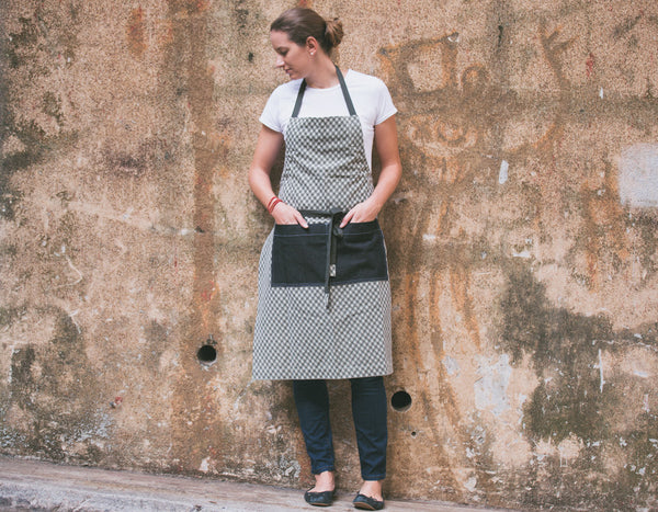 Checkered Adjustable Wrap Apron with Denim Pocket - chopcookdine