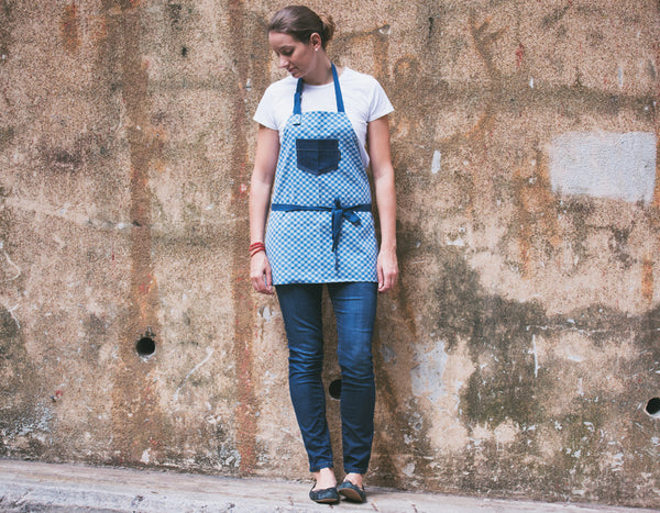 Checkered Apron with Denim Top Pocket - chopcookdine