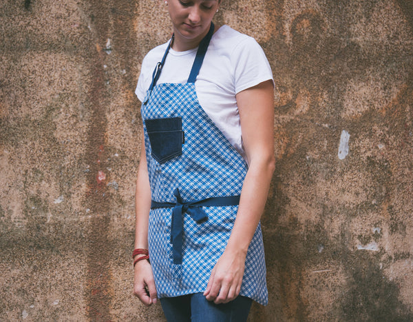 Checkered Apron with Denim Top Pocket - chopcookdine  - 1