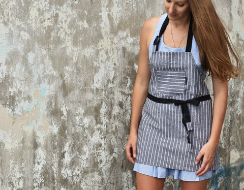 Stripe Top Pocket Apron - chopcookdine