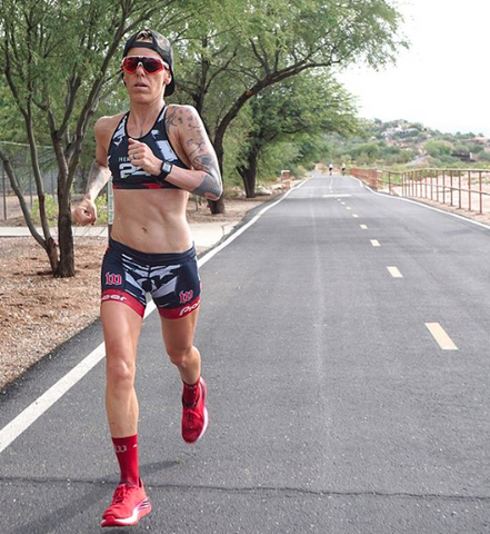 Professional triathlete Heather Jackson on a training run in Tucson, Arizona