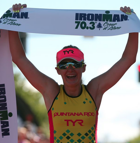 Haley Chura wins the 2018 Coeur d'Alene 70.3 Ironman