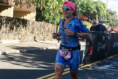 Jen Annett professional triathlete on Kona run course