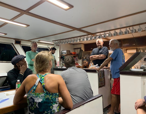 The Catalina Channel swim pre-swim meeting with captains, crew and official observers. Jessica has her back to the camera.