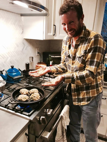 Joe Gambles cooking in his vegan kitchen