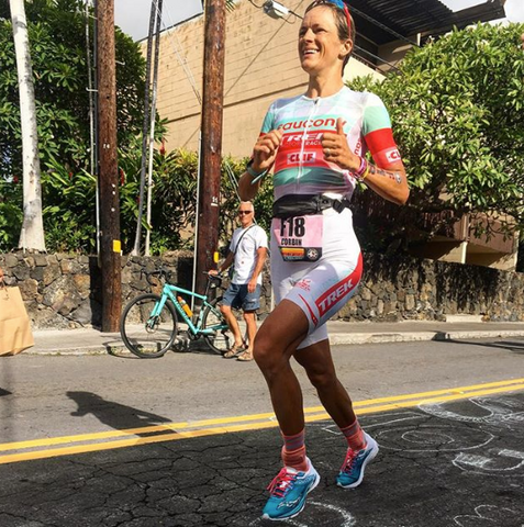 Linsey Corbin on the 2018 Ironman World Championship marathon course Photo cred @ironwomen_podcast
