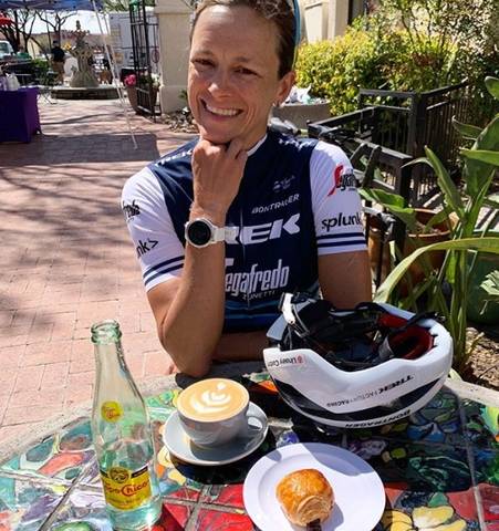 Linsey Corbin post long bike ride with a coffee & treat